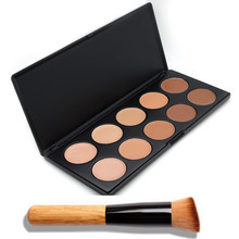 10 Color Professional Makeup Concealer Palette Make Up Cream Camouflage Brand Contouring Kit With Foundation Angled Brush