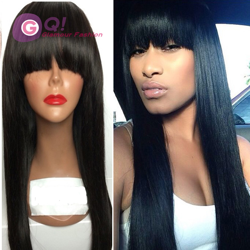 GQ Top quality malaysian virgin hair straight glueless full lace wigs malaysian straight hair full lace wig with bangs baby hair<br><br>Aliexpress