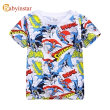 Babyinstar Fashion Boy's Superman t-shirts 2017 New Summer Children's Clothing Baby Tops Outwear Kid's Cool Tees(China)