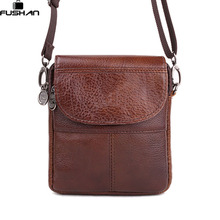 Fashion Brand mini portable Genuine leather Men bags High Quality Natural Cowskin casual Men messenger bags shoulder Satchel(China)