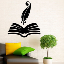 Feather Books Wall Decals Decor For Reading Room Decoration Removable Vinyl Art Wall Sticker Fashional