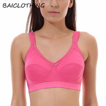 BAICLOTHING Women's High Support Solid Performance Fitness Classic Bra Wireless Lingerie for Women 32 34 36 38 B C D DD(China)
