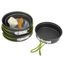 4 Pcs/Set Non-Stick Cauldron Pot Frying Pans Portable Outdoor Camping Hiking Cooking Set Cookware Picnic Utensils Tableware