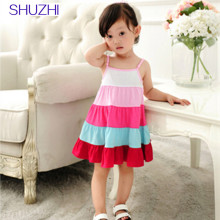 SHUZHI Summer Baby girl Beach dress children clothing striped Sleeveless Kids dresses Baby sundress