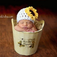 Newborn Sunflower Beanie Hat Crochet Pattern Baby Hat Toddler Photography Prop Shower Gift 0-6Months H178