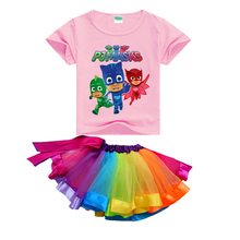 Brands 2017 Baby Girls Pj Mask T-shirts + Rainbow Tutu Skirts for Kids Summer Spring Clothing Sets Children Toddler Girl Clothes