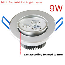 9W 3x3W 110v 220v Dimmable or luminaria teto LED Recessed Downlight Lamps