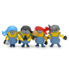 2017 NEW 4 Cute Cartoon Movie 3D Despicable Me 2 Mini Minion Doll Model PVC Action Figure Toys With Sound Children Kids Gifts