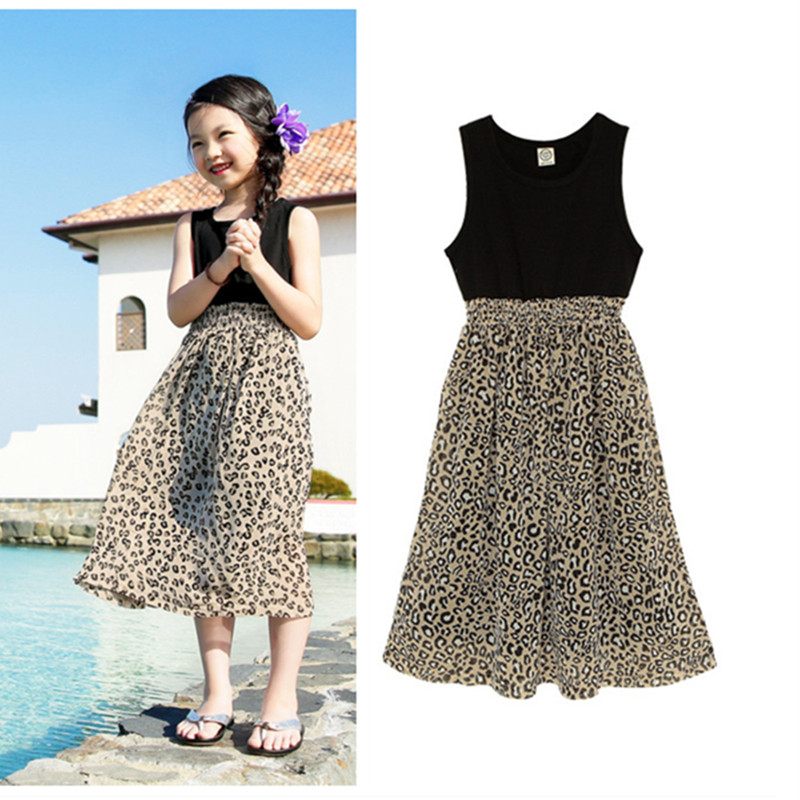 4 to 15T kids &amp; big girls teenager fashion summer leopard bohemian patchwork beach dress children casual sun dresses clothes<br><br>Aliexpress