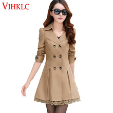 Women Trench Coat 2017 Fashion Plus Size Lace Slim Double-Breasted Trench Coats Female Casual Windbreaker Outwear Casaco Femin