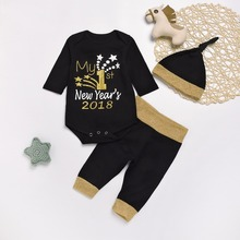 My 1st New Year's 2018 Newborn Baby Girl Boy 3pcs Outfit Black Bodysuit Tops + Pants + Cap Toddler Clothes Set Winter Warm 0-18M(China)