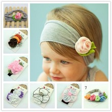 2015 New Popular Style 6 Colors Cotton Stretch Kids Headband Flower Hair Bands Bay Girl Hair Accessories A026