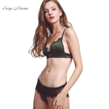 Buy Sexy Mousse Vintage transparent lace-up lingerie Underwear Set Top Brand intimates 2017 new Autumn Winter green Bras briefs set