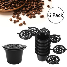 Plastic Reusable 6Pcs Coffee Capsules+Spoon+Brush Set Black Mini Powder Basket For Nespresso Machine Coffee Brewing Tools