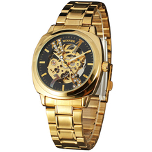 Top Luxury Brand Men's Gold Watches WINNER Automatic Mechanical Wrist Watches Full Stainless Steel Clock Crystal Decorated Dial(China)