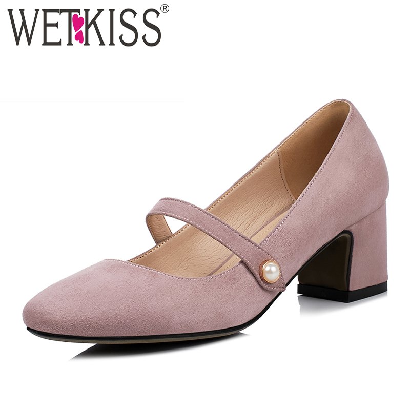 WETKISS Mary Jane High Heels Women Pumps 2018 Brand Pearl Spring Fashion Ladies Shoes Square Toe Square Heels Flock Footwear<br>