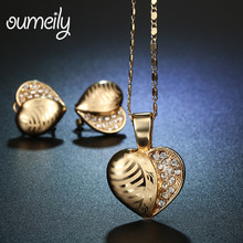 OUMEILY Heart Dubai Gold Color Jewellery Set Necklace Earring For Wedding Jewelry Women Imitation Crystal Fashion Accessories