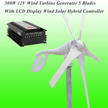 Hot Selling Rated 300W 12V Wind Turbine 5 Blades With Perfect PWM Wind Solar Hybrid Controller Small Wind Turbine Generator Kit(China)