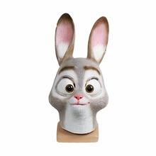 Zootopia Bunny Judy Hopps Latex Full Head Animal Masks makeup Halloween Cosplay Props Accessories