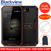 Blackview BV4000 Tri-proof Outdoor Smartphone 4.7inch HD 2.0MP+8.0MP Cell Phone IP68 3680mAh 1GB + 8GB Waterproof Mobile Phone