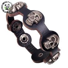 Punk Rock Skull Iron Genuine Leather Cord Studded Bracelets, Black, 60~70mm, 200mm