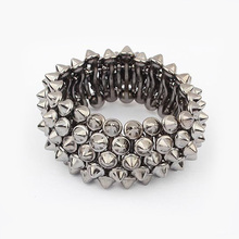 Fashion Exaggerated New Punk Style Personality Rivets Spike Bracelets For Women Jewelry Wholesale Free Shipping B56(China)