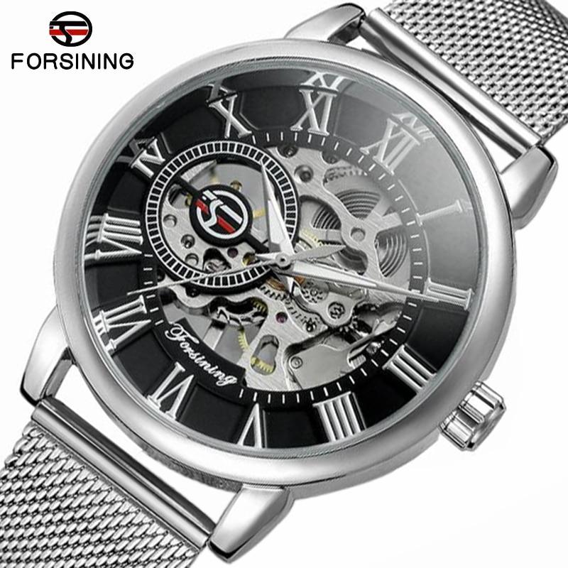 Top Brand Luxury Skeleton Forsining Transparent Case 2018 Fashion 3D Logo Engraving Golden Stainless Steel Men Mechanical Watch<br>