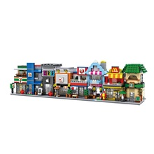 8pcs/lot LOZ City Series Street View Seven-Eleven Starbucks Apple Store Model Assembled Building Blocks Kid Educational Toy Gift