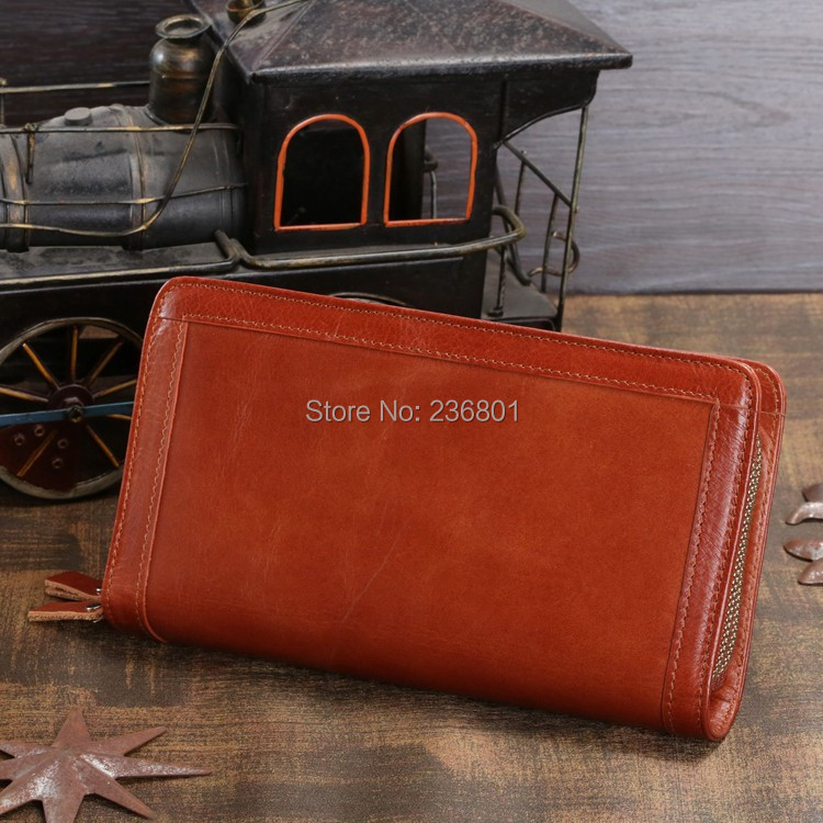 J.M.D Hot Sale High Quality Classic Brown Real Leather Mini Wallet Purse Key Case Mens Hand bag Cartera 8023B<br>