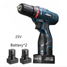 25V Rechargeable Lithium Battery*2 Cordless  Electric Screwdriver Household hand Electric Drill driver screw driver Power Tools