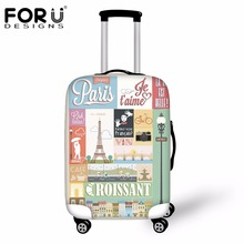 FORUDESIGNS 3D Eiffel Tower Printed Luggage Protective Cover Elastic Waterproof Rain Cover for 18-30 Inch Suitcase Case Cover