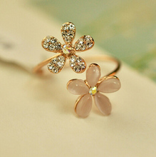 Charm Daisy Flower Crystal Rhinestone Ring Female Adjustable Opening Rings For Women Anel Jewelry