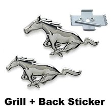 2pcs Sets Silver Mustang Running Horse Front Grille + Back Car Emblem Badge Sticker For Ford Mustang Shelby