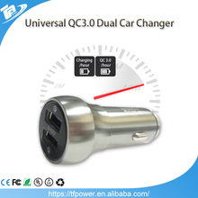 QC3.0 Car Charger Dual USB 5V/3.1 A Quick Charge Metal Apply to Android IOS System Mobile Phones Tablet PC