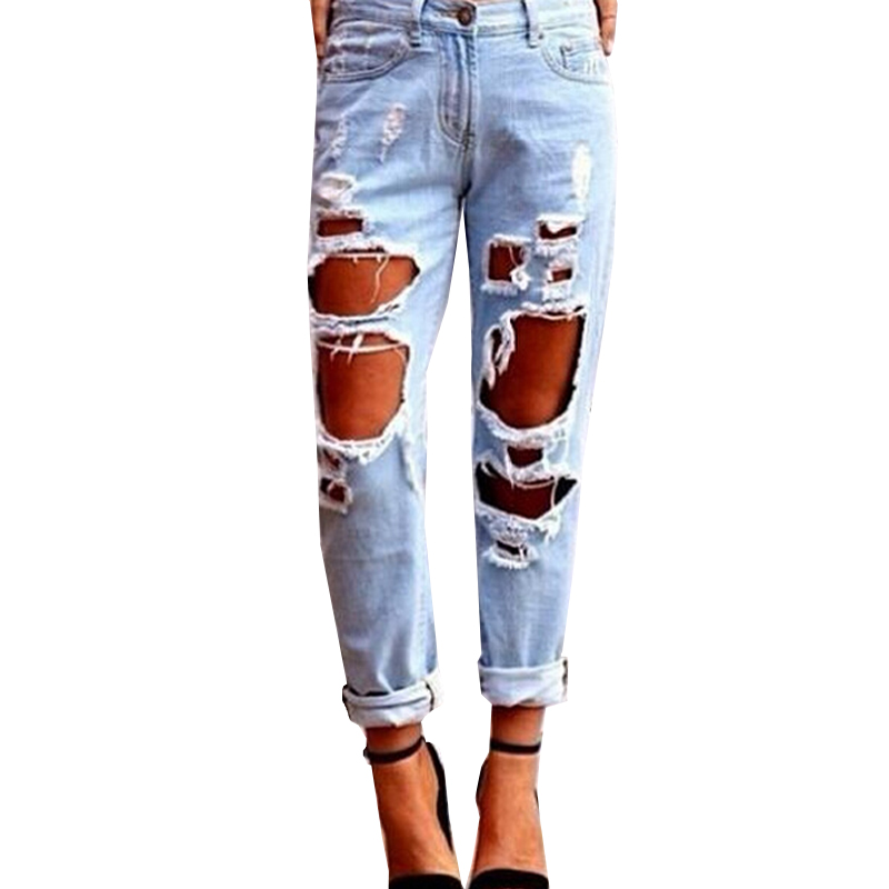 Summer Ladies Sexy Big Boyfriend Trousers Loose Softener Hole Button Woman High Waist Jeans Pants Jean Femme Denim Mujer A50Одежда и ак�е��уары<br><br><br>Aliexpress