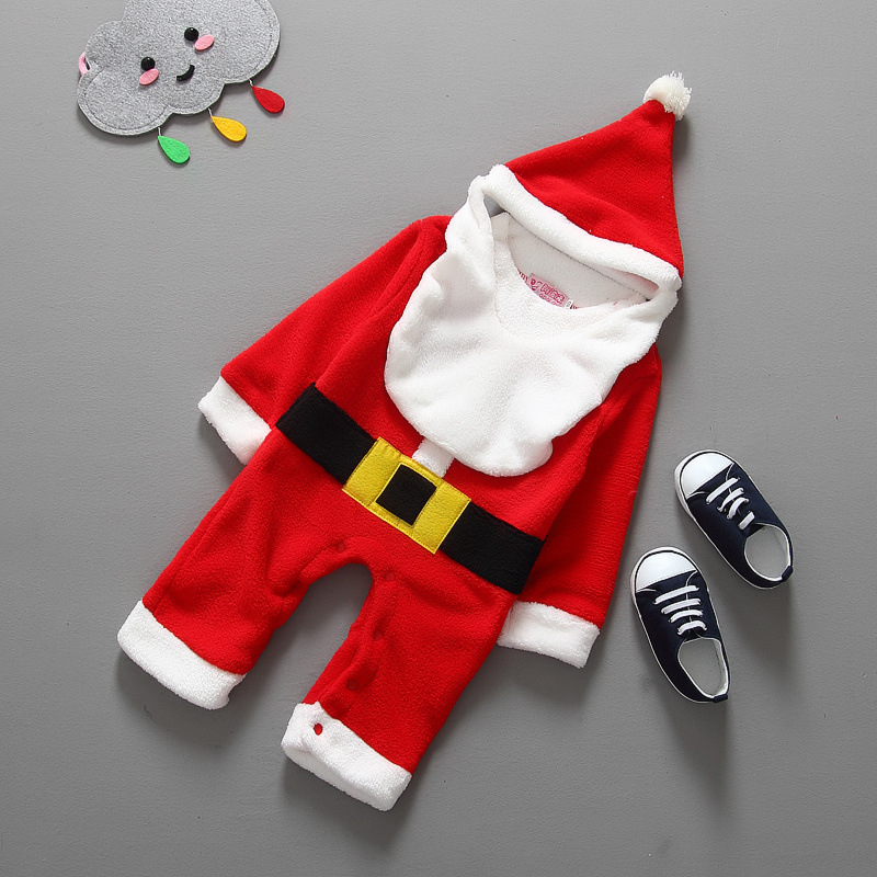 Santa Claus Baby Rompers Hot Sale Cute Boys Rompers Suits Warm Baby Hooded Clothing Sets Christmas Infants New Year Clothes<br><br>Aliexpress