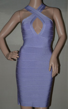 2016 New Style Summer Dress Lilac Halter Neck Women Bandage Bodycon Dresss