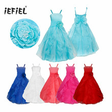 iEFiEL Children Sky Blue Girls Dress Embroidered Flower Bow Formal Party Dress for Bridesmaid Wedding Party Girls Tutu Clothes