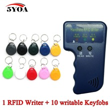 Handheld 125KHz EM4100 RFID Copier Writer Duplicator Programmer Reader +10 Pcs EM4305 T5577 Rewritable ID Keyfobs Tags Card