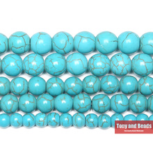 "Free Shipping Smooth Natural Blue Turquoises Round Loose Beads 15"" Strand 4 6 8 10 12 MM Pick Size For Jewelry Making"