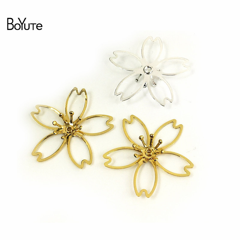 BoYuTe 50Pcs Metal Brass Stamping Filigree Flower Accessories Parts for Bridal Hair Jewelry Making (6)