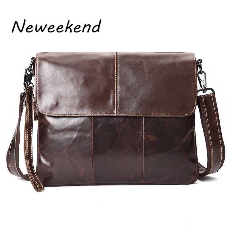 NEWEEKEND Mens Genuine Max Oil Leather Business Bag Thin Slight Simple Shoulder iPad Bags Messenger Male for Men LS-094<br>