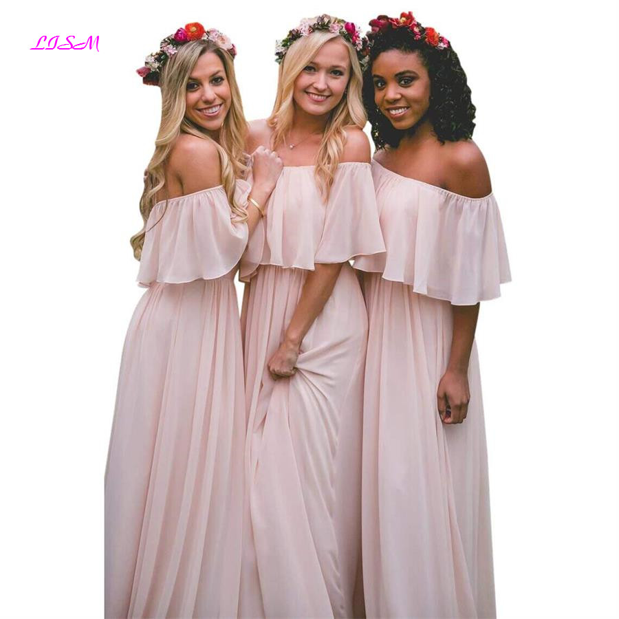 Off Shoulder Chiffon Bridesmaid Dresses A-Line Ruffle Floor Length Prom Party Gowns 2019 Long Dress for Wedding Party for Woman