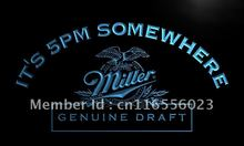 LA425- It's 5 pm Somewhere Miller Beer LED Neon Light Sign home decor crafts(China)