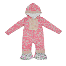 New Fashion Baby Hooded Rompers Newborn Fall Long Sleeve Ruffle Cotton Floral Tassel Clothes Infant Children Remake Sets