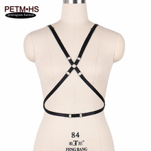 Womens Fashion Sexy Body Harness Belt Adjust Black Elastic Strappy Tops Cage Bra Bondage Lingerie Goth Exotic Apparel Rave wear