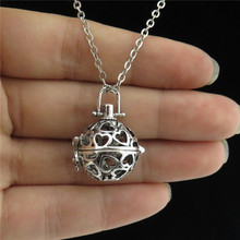 "GLOWCAT B0Q959 Vintage Silver Copper Fragrance Diffuser Perfume 20mm Heart Locket Necklace 24"" Women Jewelry"