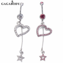 Valentine's Day 2017 New Heart Belly Rings 1pc Star Piercing Ombligo for Women Body Jewelry Decoration 14G Steel