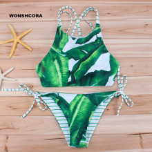 2017 New Green Leaf Floral Bikinis Set Beach Swimwear Swimsuit for Girls High Quality Women Swimming Trunks Multi Ropes Tankini