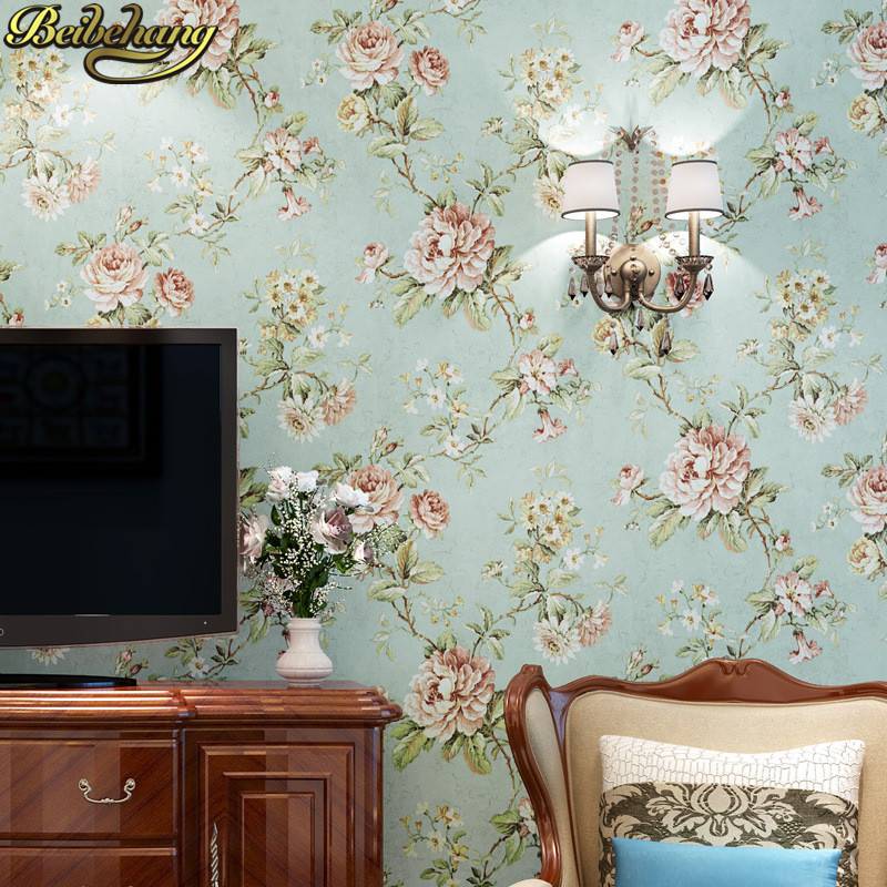 beibehang papel de parede 3D American country pastoral flower wallpaper for walls painting wall paper living room home decor<br>